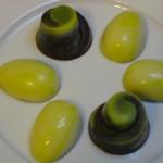 Pistachio Bonbon; Lemon Egg
